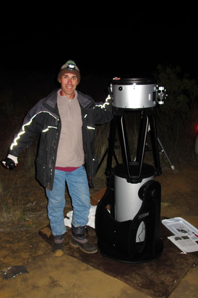 Olivier beside his new telescope, a 12&quot; Orion Dobsonian