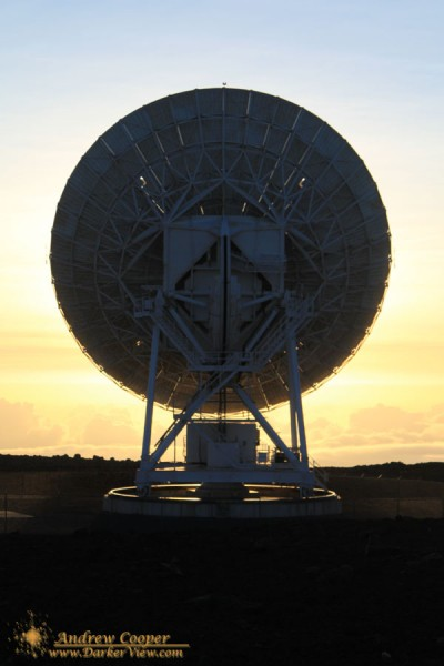 An antenna of the Very Long Baseline Array greets the rising sun