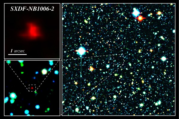 Color composite image of the Subaru XMM-Newton Deep Survey Field of galaxy SXDF-NB1006-2, credit NAOJ