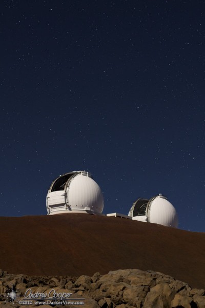Both telescopes observing the same object during the last night of interferometer observing.
