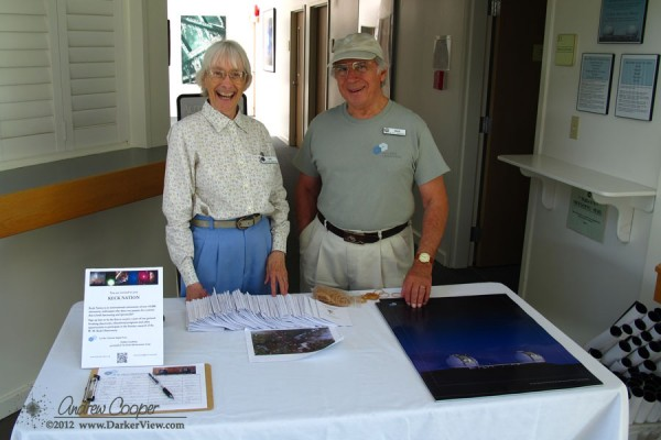 Dick and Sue volunteer at the sign in table for the 2012 Waimea Planet Walk