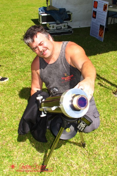 Chris aligns his Hydrogen Alpha filter equipped telescope