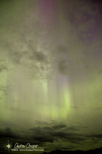 A strong auroral display over St. Johns Harbor, Alaska on the evening of September 4, 2012