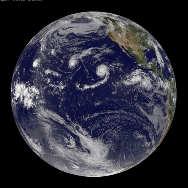 Three Pacific hurricanes visible in this full disk weather image from the NOAA-NASA GOES Project