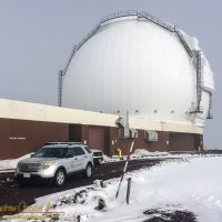 Snow at Keck Observatory atop Mauna Kea