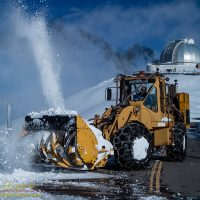 The MKSS snowplow crews remove snow from in front of Keck Observatory atop Mauna Kea