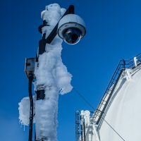 Heavy ice covers the Keck weather mast