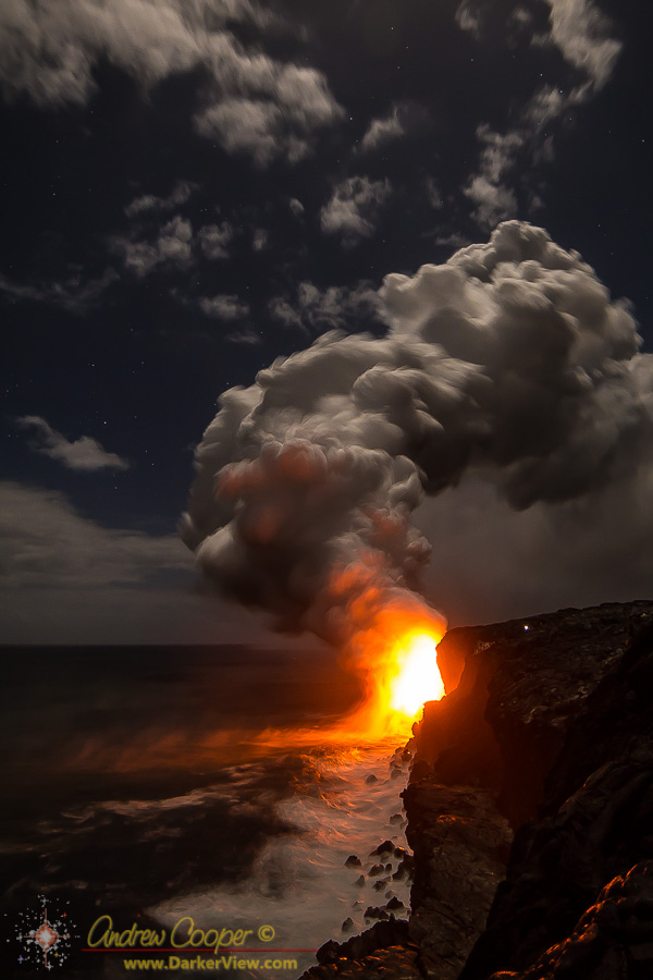 A heavy plume of gases trail from the 61G lava flow ocean entry