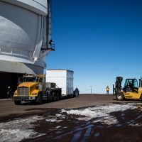 KCWI being lifted off the trailer at Keck Observatory on the summit of Mauna Kea, Jan 20, 2017