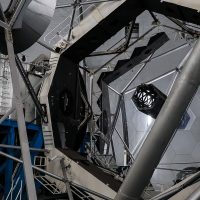 Looking at the primary mirror of the Keck 1 telescope