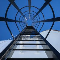 Looking up a ladder on the Keck 2 dome