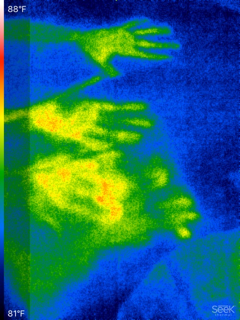 Thermal image of handprints left behind on a table top