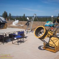 An assortment of telescopes wait out the day at oregon Star Party 2017