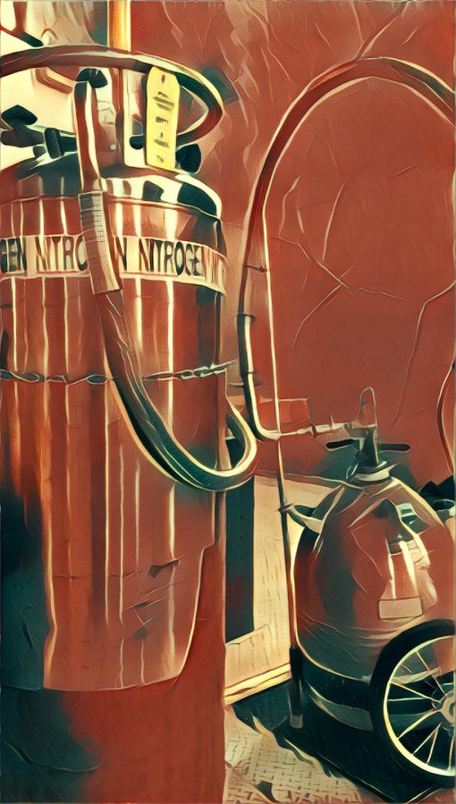 A tank of liquid nitrogen cryogen awaits use, image processed by Prisma