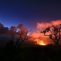The plume of volcanic gasses from Halemaʻumaʻu