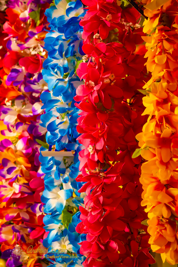 A rack of lei await tourists at the Hilo Airport