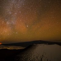 Enhanced sky glow due to geomagnetic activity softly lights the sky over Mauna Loa