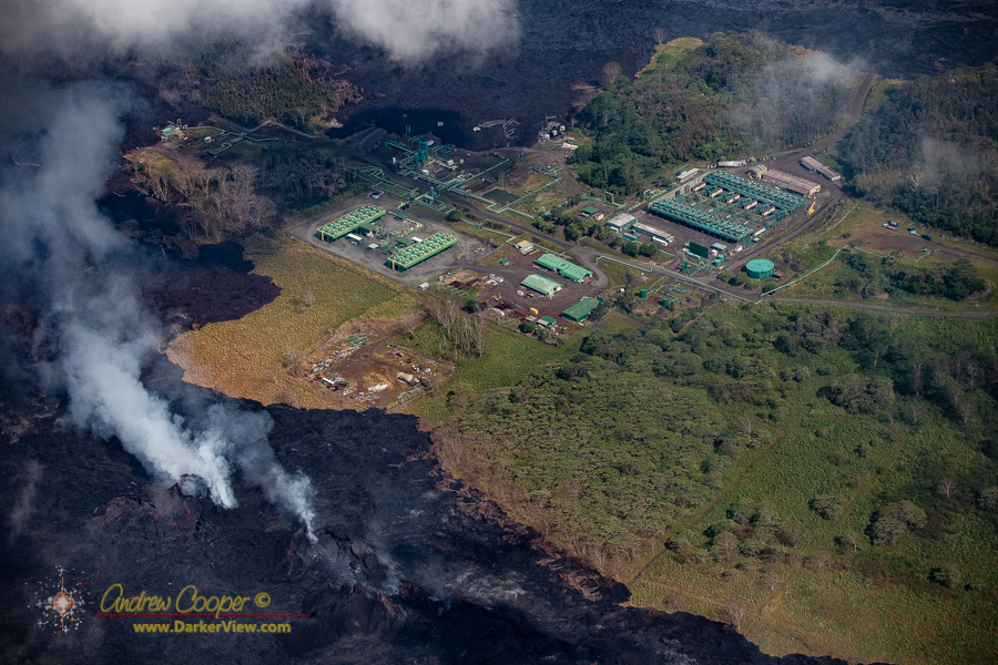 The Puna Geothermal Ventures generating station surrounded by lava