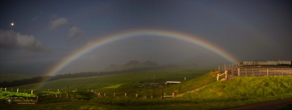A moonbow and Venus over the pastures of Kahua Ranch