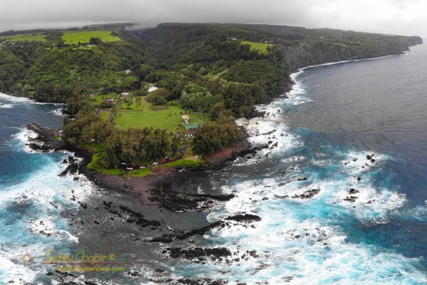 Looking down on Laupahoehoe Park from a drone