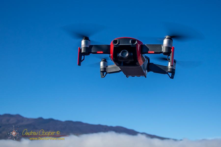 Flying the DJI Mavic Air in the saddle at the base of Mauna Kea