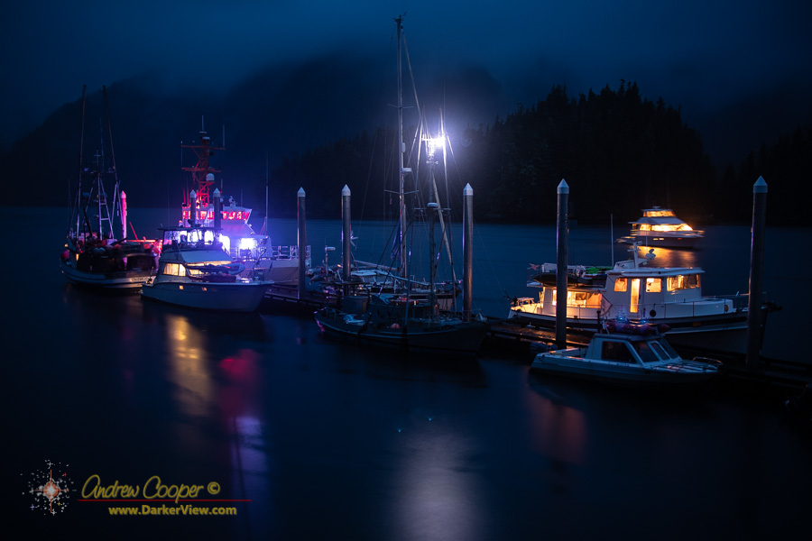 Vessels shelter from the storm on the dock at Baranof