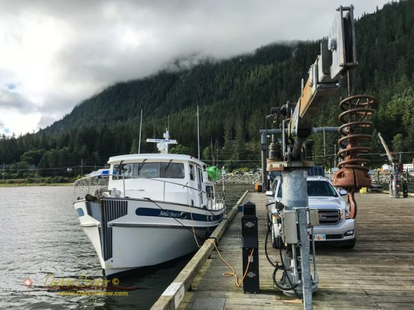 The Nordic Quest being prepared for a voyage along the Inside Passage