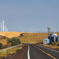 Windmills and silos in Wasco County, along state route 206