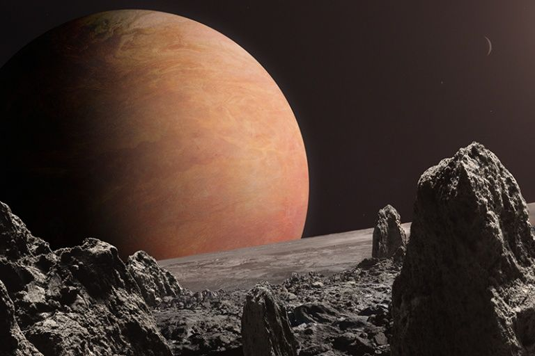 Gliese 876b, as seen from a hypothetical moon