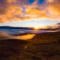 Sunset among the puʻu of Mauna Kea