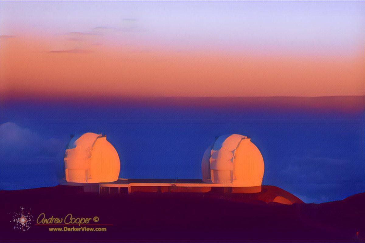 The Keck telescopes at sunrise