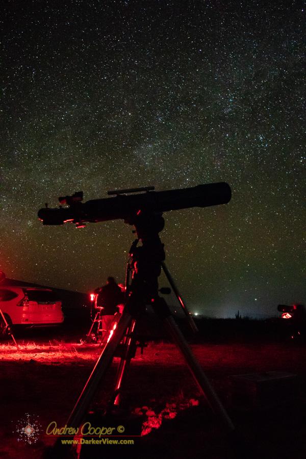 A refractor setup under a dark Mauna Kea sky
