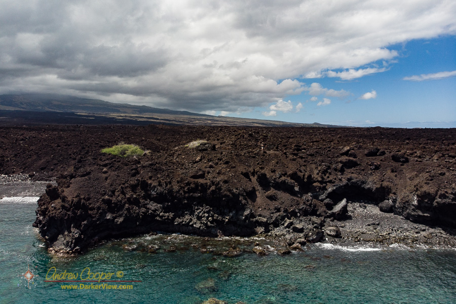 Flying the drone at the seaward edge of the 1801 lava flow from Hualalai