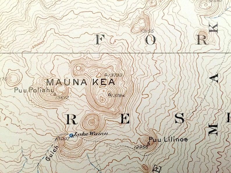USGS quadrangle map of Mauna Kea from 1930
