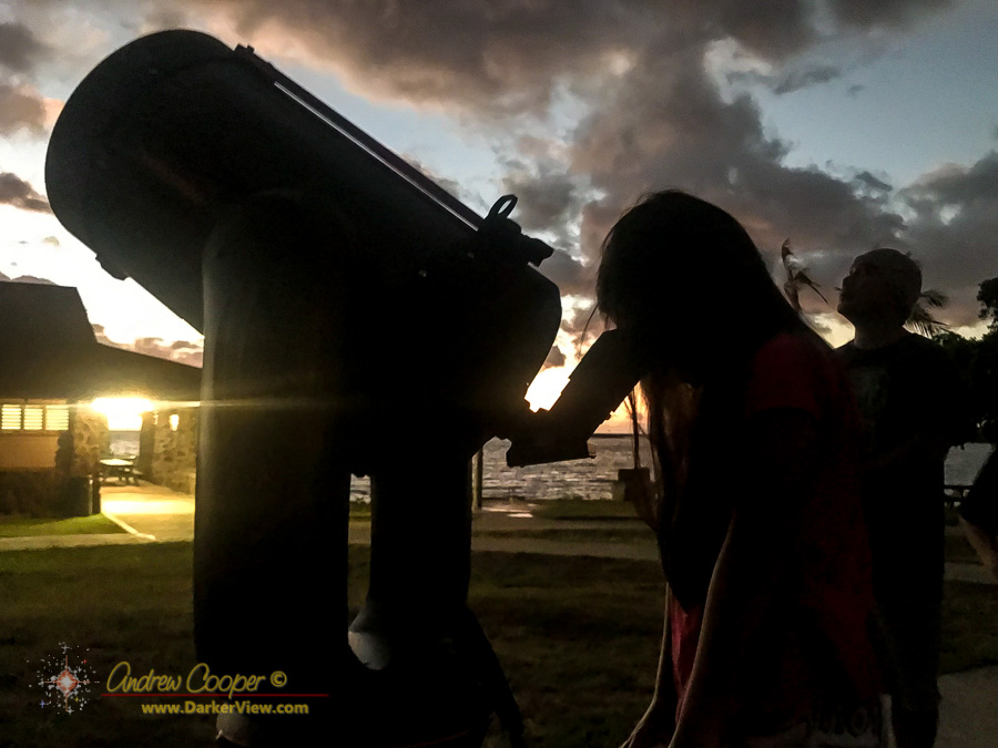 Students of Mauna Loa School enjoy views of the Moon during a camp-out at Spencer Beach Park.