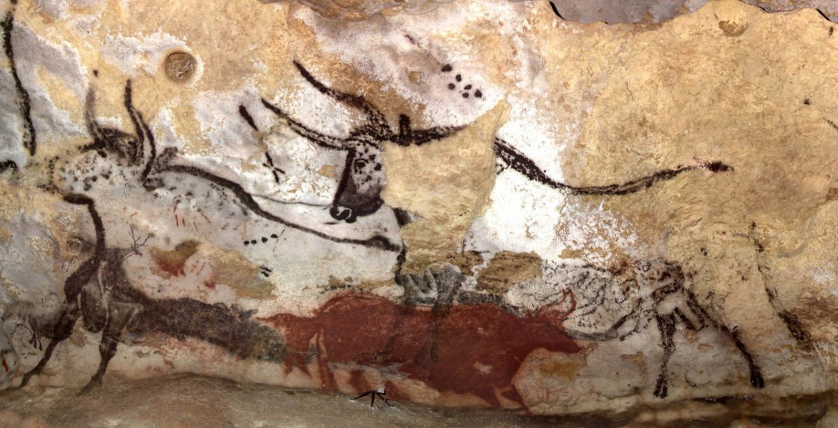A 16,500 year old painting of a bull in Lascaux Cave that likely depicts Taurus, Orion, and the Pleiades star cluster.