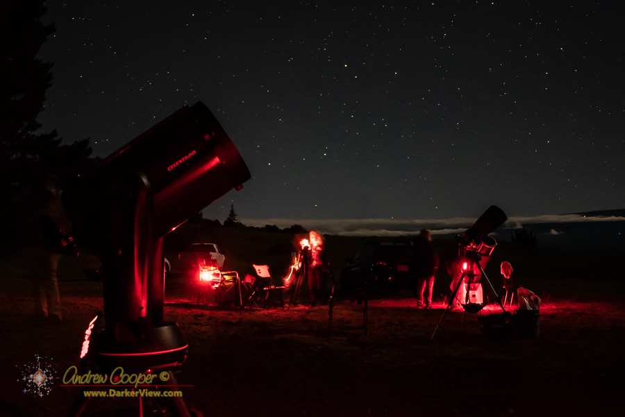 A few 'scopes set up under moonlight at Kaʻohe
