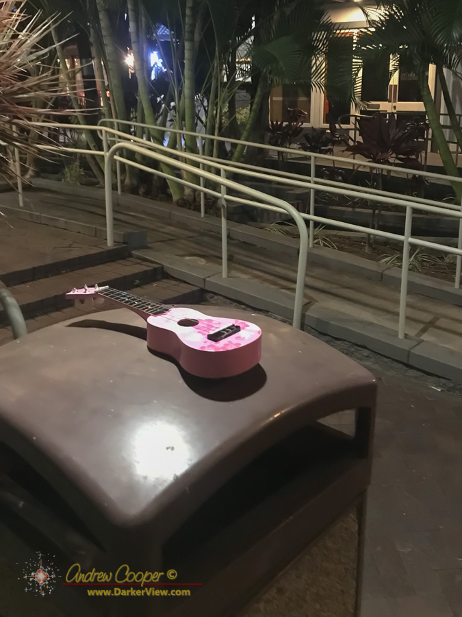 Only in Hawaii... A child's ukulele sitting on a trash can at our local shopping center.