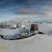 The observatories of Mauna Kea as seen from the air, Subaru, Keck, IRTF, CHFT, Gemini, UH88 and UKIRT