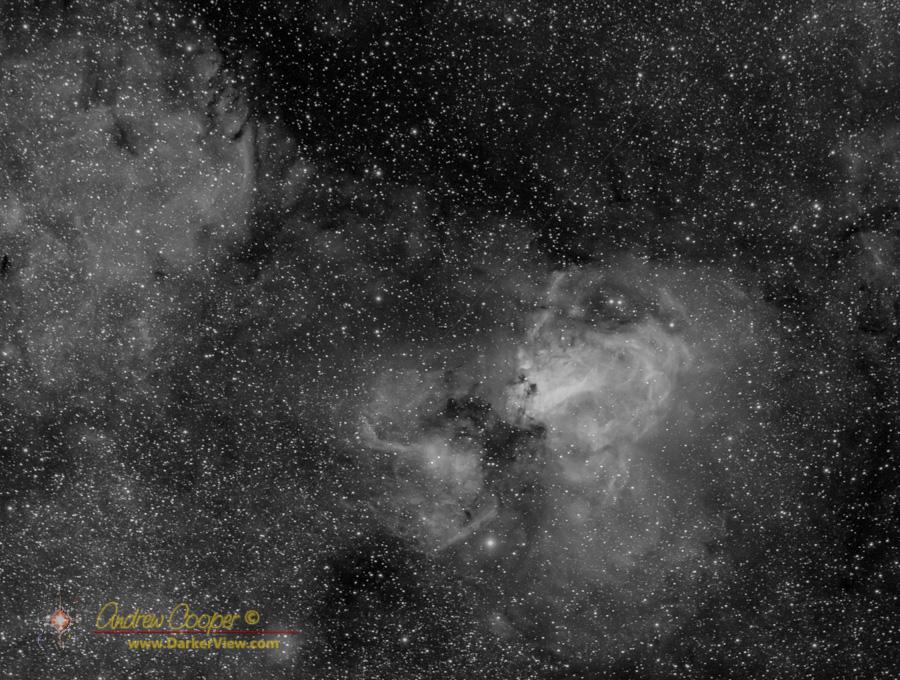 The nebula complex M17 in hydrogen-alpha