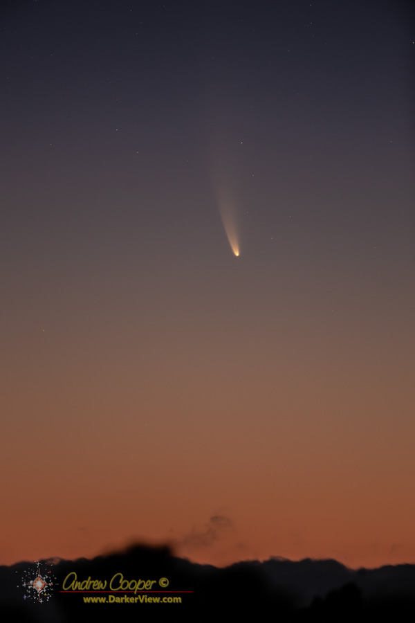 Comet C/2020 F3 NEOWISE against the dawn