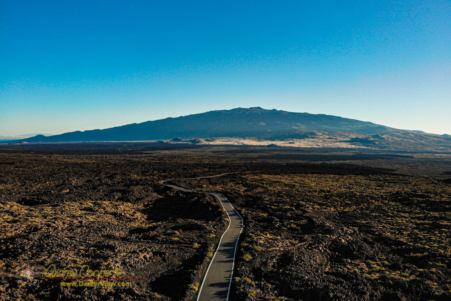 Looking down the Mauna Loa access road towards Mauna Kea