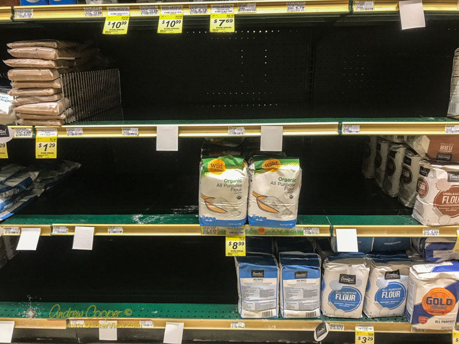 Empty shelves in the baking goods aisle