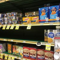 A consistently empty shelf where the Kraft Macaroni and Cheese should be