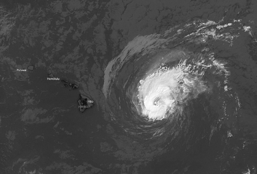 Hurricane Douglas approaches the islands, GEOS West infrared image at noon, 25 July, 2020