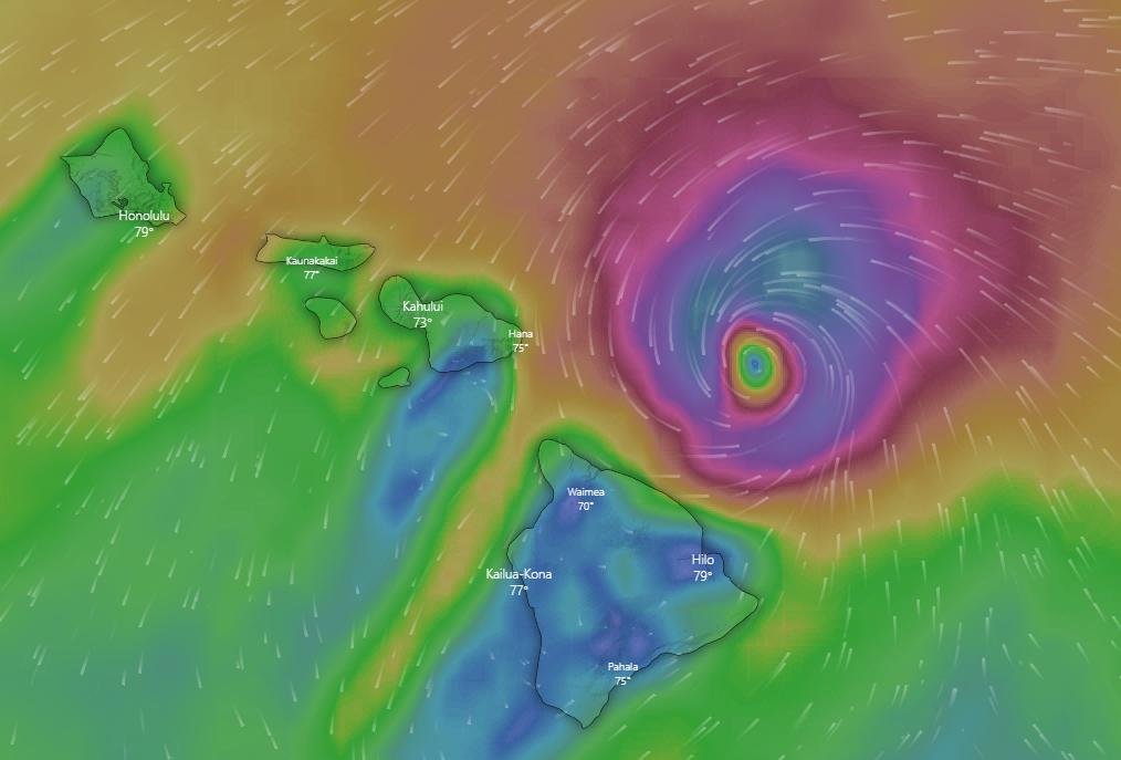 Hurricane Douglas from Windy on 26 July, 2020