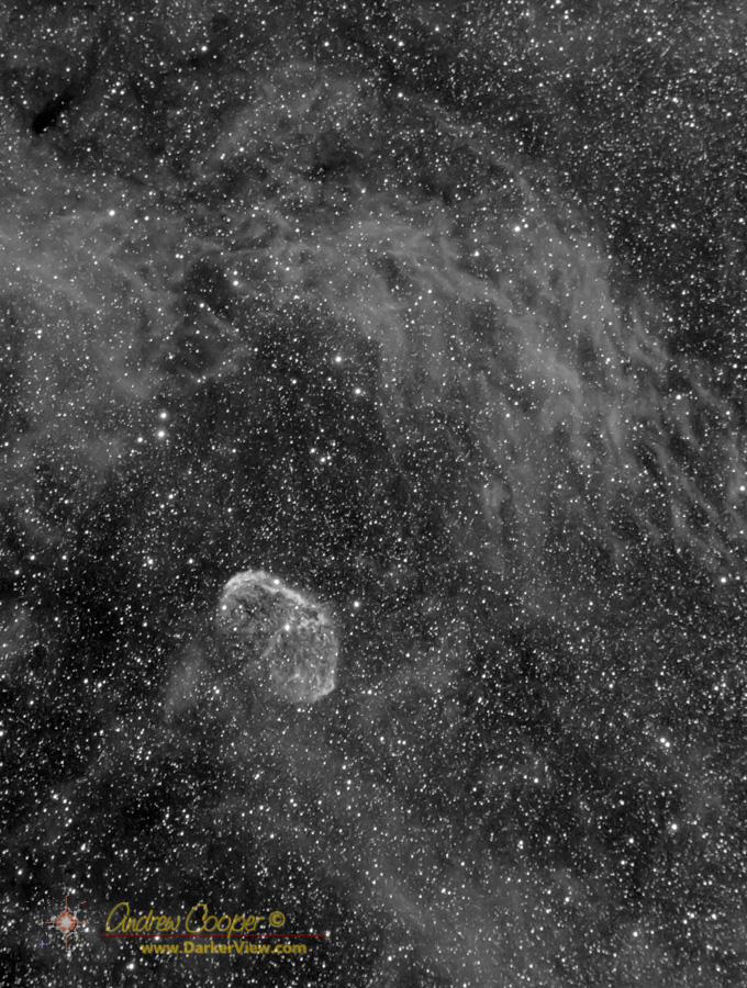 NGC6888 The Crescent Nebula in Hydrogen Alpha