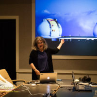Andrea Ghez talking to the West Hawaii Astronomy Club