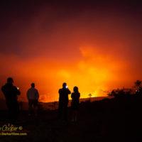 A crowd viewing the lava lake glow at Kilauea Caldera