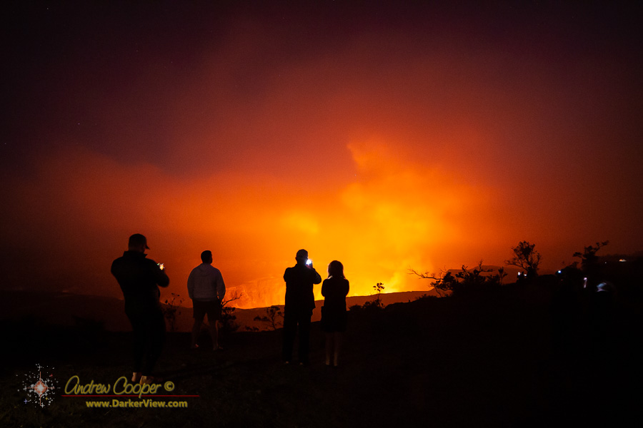 A crowd viewing the lava lake glow at Kilauea Caldera